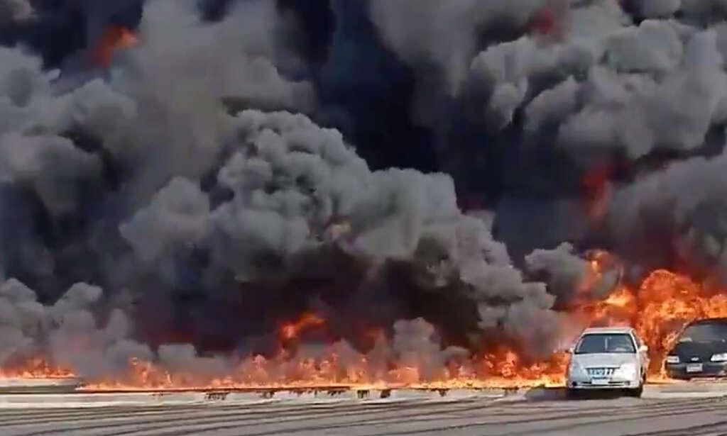 egypt fire, cairo oil pipeline fire