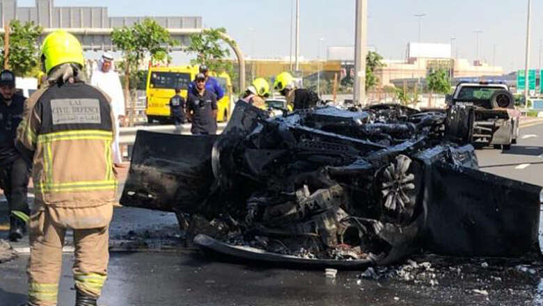 dubai accident, car catches fire on dubai road, man dead in dubai car fire