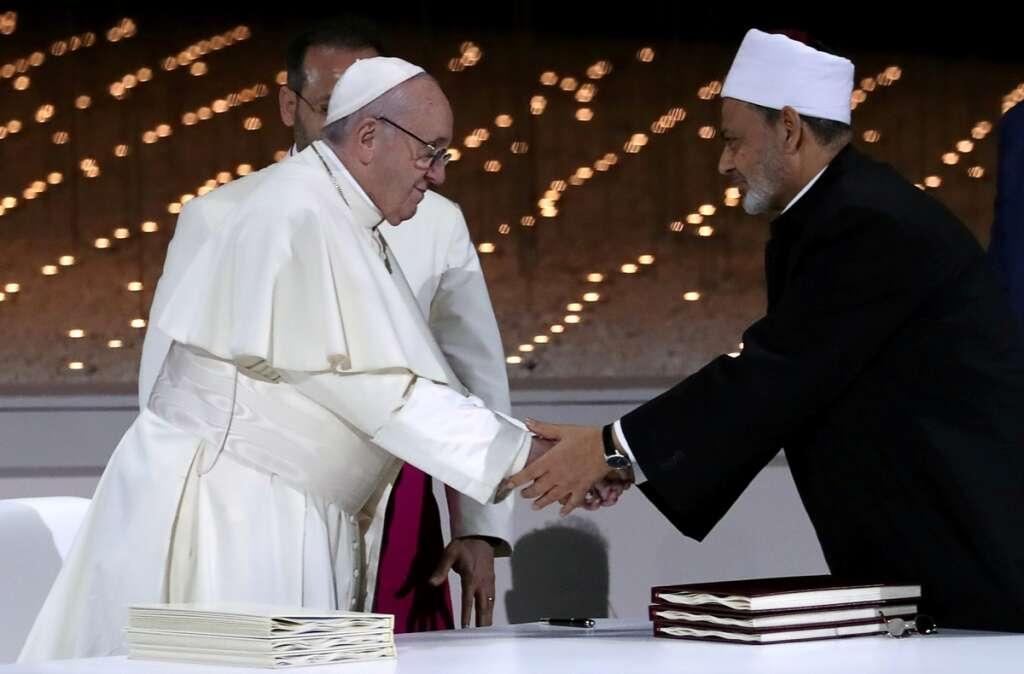 pope francis, azhar al tayyeb, al azhar, human fraternity, pray to god, pray to end pandemic, pray for humanity, uae